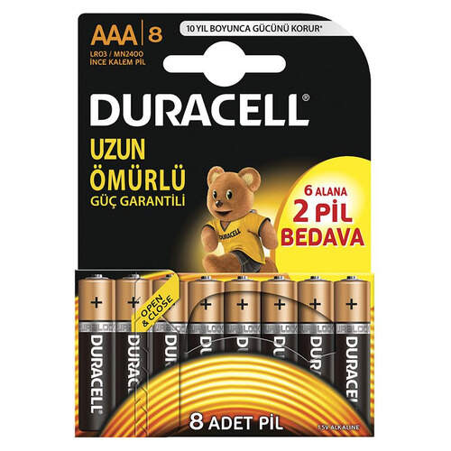 Duracell İnce Pil Aaa 6+2