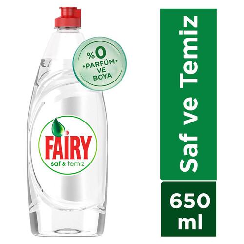 Fairy Sıvı Saf Ve Temiz Bulaşık Deterjanı 650 Ml 0 Parfüm Sıfır Boya