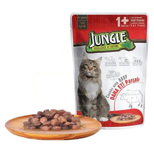 Jungle Pouch Yetışkın Kedı  Dana Etı  Parçalı 100