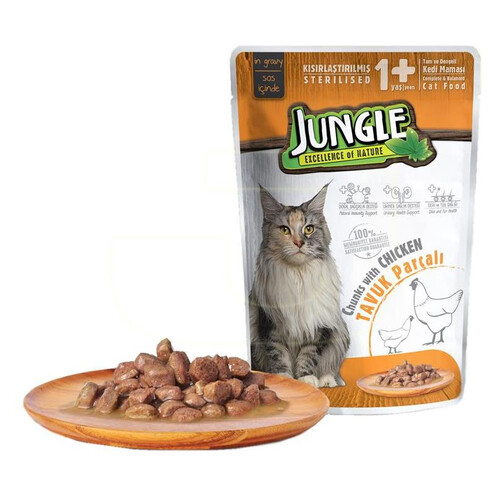 Jungle Pouch Kısır Kedı Tavuk Parçalı 100 G