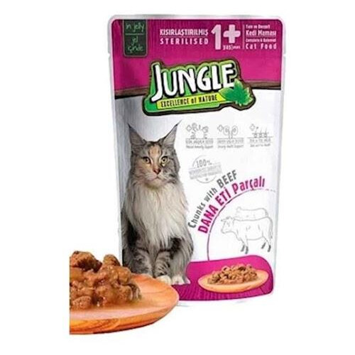 Jungle Pouch Kısır Kedi Dana Eti Parçalı 100gr.