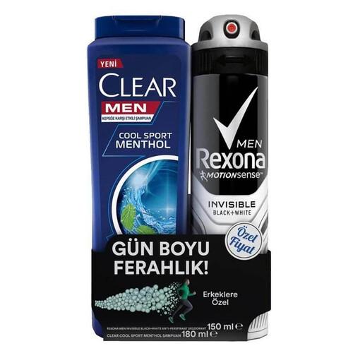 Rexona Men Invısıble 150ml.deodorant + Clear Cool 330ml.şampuan