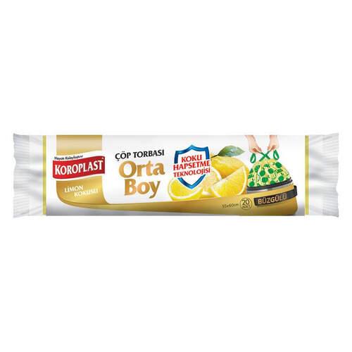 Koroplast Limon Kokulu Büzgülü Çöp Torbası Orta Boy 20'li