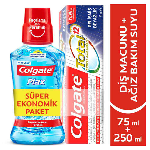 Colgate Total 75ml.+colgate Plax 250ml.